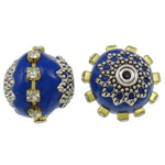 Indonesia Beads, with Brass & Zinc Alloy, Drum, plated, with rhinestone, blue, 17x16mm, Hole:Approx 1mm, 100PCs/Bag, Sold By Bag