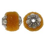 Indonezja koraliki, ze Koraliki szklane & Stop cynku, Owal, Platerowane kolorem starego srebra, żółty, 12x14mm, otwór:około 1.5mm, 100komputery/torba, sprzedane przez torba