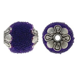 Indonesia Beads, with Glass Seed Beads & Zinc Alloy, Oval, antique silver color plated, purple, 12x14mm, Hole:Approx 1.5mm, 100PCs/Bag, Sold By Bag