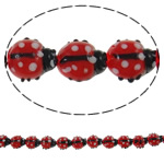 Animal Lampwork Beads, Ladybug, handmade, bumpy, red, 18x20x9mm, Hole:Approx 2mm, Length:Approx 14.9 Inch, 10Strands/Bag, 20PCs/Strand, Sold By Bag