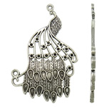 Zinc Alloy Pendant Rhinestone Setting Peacock antique silver color plated lead   cadmium free 41x65x2mm Hole:Approx 2mm 10PCs/Bag