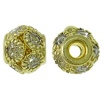 Rhinestone Brass Beads, Drum, gold color plated, with rhinestone, nickel, lead & cadmium free, 8.5x8mm, Hole:Approx 2.5mm, 10PCs/Bag, Sold By Bag