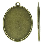 Zinc Alloy Pendant Cabochon Setting, Flat Oval, antique bronze color plated, nickel, lead & cadmium free, 33x47x2mm, Hole:Approx 3mm, 105PCs/KG, Sold By KG