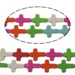 Turkusowe koraliki, Turkus syntetyczny, Krzyż, mieszane kolory, 16x12x4mm, otwór:około 1mm, około 25komputery/Strand, sprzedawane na około 15 cal Strand