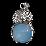 Sea Opal Pendants, with Zinc Alloy, Owl, platinum color plated, 18x27x16mm, Hole:Approx 4x6mm, 20PCs/Lot, Sold By Lot