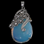 Sea Opal Pendant Setting, with Zinc Alloy, Teardrop, platinum color plated, with rhinestone, 28x43x11mm, Hole:Approx 4x6mm, Inner Diameter:Approx 1mm, 10PCs/Lot, Sold By Lot