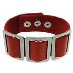 Cowhide Bracelet, with 316 Stainless Steel, red, nickel, lead & cadmium free, 25x33x3mm, 24mm, Length:Approx 9 Inch, 10Strands/Lot, Sold By Lot