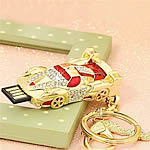 Zinc Alloy USB Drive, Car, gold color plated, 4G & enamel & with rhinestone, nickel, lead & cadmium free, 62x27mm, Hole:Approx 2mm, Sold By PC