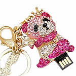 Zinc Alloy USB Drive, Panda, gold color plated, 8G & with rhinestone, nickel, lead & cadmium free, 41x53mm, Hole:Approx 5mm, Sold By PC
