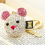 Zinc Alloy USB Drive, Mickey Mouse, gold color plated, 8G & with rhinestone, nickel, lead & cadmium free, 45x46mm, Hole:Approx 2mm, Sold By PC