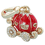 Key Chain, Zinc Alloy, Pumpkin Car, gold color plated, enamel & with rhinestone, nickel, lead & cadmium free, 25x30mm, Hole:Approx 2mm, 5PCs/Bag, Sold By Bag