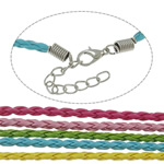 Fashion Necklace Cord, Leather, zinc alloy lobster clasp, with 5cm extender chain, mixed colors, nickel, lead & cadmium free, 3mm, Length:17.5 Inch, 100Strands/Bag, Sold By Bag