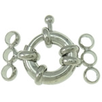 Brass Spring Ring Clasp, platinum color plated, 3-strand, nickel, lead & cadmium free, 23x14x5.50mm, Hole:Approx 2.5mm, 40PCs/Bag, Sold By Bag