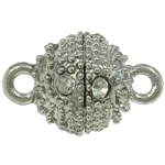 Brass Magnetic Clasp, Round, platinum color plated, with rhinestone & single-strand, nickel, lead & cadmium free, 11x17mm, Hole:Approx 2mm, 30PCs/Bag, Sold By Bag