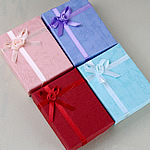 Cardboard Jewelry Set Box, Paper, with Satin Ribbon, Rectangle, mixed colors, 90x70mm, 65PCs/Lot, Sold By Lot