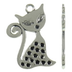 Zinc Alloy Pendant Rhinestone Setting Cat antique silver color plated nickel lead   cadmium free 20x30.50x1.50mm Hole:Approx 2.5mm Approx 320PCs/KG