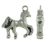 Zinc Alloy Animal Pendants, Horse, antique silver color plated, nickel, lead & cadmium free, 21x22x5mm, Hole:Approx 2mm, Approx 250PCs/KG, Sold By KG