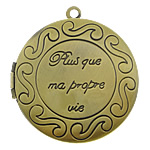 Brass Locket Pendants Flat Round antique bronze color plated with letter pattern nickel lead   cadmium free 33x33x7mm Hole:Approx 2mm Inner Diameter:Approx 25mm 110PCs/Lot