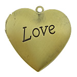 Brass Locket Pendants, Heart, word love, antique bronze color plated, brushed, nickel, lead & cadmium free, 29x27mm, Hole:Approx 2mm, Inner Diameter:Approx 21x20mm, 120PCs/Lot, Sold By Lot