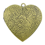 Brass Locket Pendants, Heart, antique bronze color plated, nickel, lead & cadmium free, 29x27x7mm, Hole:Approx 2mm, Inner Diameter:Approx 21x20mm, 50PCs/Lot, Sold By Lot