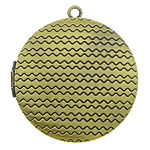 Brass Locket Pendants Flat Round antique bronze color plated textured nickel lead   cadmium free 32x32x7mm Hole:Approx 2mm Inner Diameter:Approx 25mm 110PCs/Lot