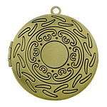 Brass Locket Pendants Flat Round antique bronze color plated nickel lead   cadmium free 33x33x7mm Hole:Approx 2mm Inner Diameter:Approx 24mm 110PCs/Lot