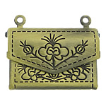 Brass Locket Pendants Handbag antique bronze color plated brushed nickel lead   cadmium free 21x14x4mm Hole:Approx 1mm 120PCs/Lot