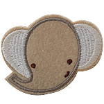 Iron on Patches, Cloth, Elephant, beige, 65x50mm, 50PCs/Bag, Sold By Bag