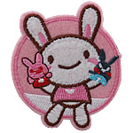 Iron on Patches, Cloth, Rabbit, 50x60mm, 50PCs/Bag, Sold By Bag