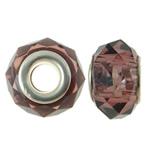 European kristalli helmiä, Rondelli, hopeaa Kaksoisjohdin ilman peikko, Savukvartsi, 14x8mm, Reikä:N. 5mm, 20PC/laukku, Myymät laukku