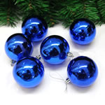 Plastic Christmas Balls, Round, plated, blue, 50mm, 35Bags/Lot, 6PCs/Bag, Sold By Lot