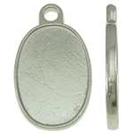 Zinc Alloy Pendant Cabochon Setting, Flat Oval, platinum color plated, nickel, lead & cadmium free, 13.50x23x2mm, Hole:Approx 2mm, Approx 500PCs/KG, Sold By KG