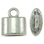Końcówka ze stopu cynku, Stop cynku, Płaski owal, Platerowane kolorem starego srebra, bez zawartości niklu, ołowiu i kadmu, 10x12x5mm, otwór:około 2mm, około 1100komputery/KG, sprzedane przez KG