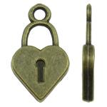 Sinkkiseos Lock riipukset, Lukko, antiikki pronssi väri päällystetty, nikkeli, lyijy ja kadmium vapaa, 10.50x18.50x2mm, Reikä:N. 2mm, N. 830PC/KG, Myymät KG