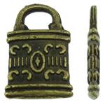 Sinkkiseos Lock riipukset, Lukko, antiikki pronssi väri päällystetty, nikkeli, lyijy ja kadmium vapaa, 8x12x1.50mm, Reikä:N. 3x2.5mm, N. 2500PC/KG, Myymät KG