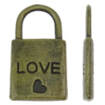 Sinkkiseos Lock riipukset, Lukko, antiikki pronssi väri päällystetty, nikkeli, lyijy ja kadmium vapaa, 10.50x19.50x2mm, Reikä:N. 6.5x6mm, N. 620PC/KG, Myymät KG
