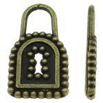 Sinkkiseos Lock riipukset, Lukko, antiikki pronssi väri päällystetty, nikkeli, lyijy ja kadmium vapaa, 9x15x1.50mm, Reikä:N. 3.5x4mm, N. 1420PC/KG, Myymät KG