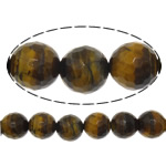 Natural Tiger Eye Beads, Round, faceted, 6mm, Hole:Approx 0.8mm, Length:Approx 15 Inch, 5Strands/Lot, Approx 60PCs/Strand, Sold By Lot