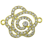 Flower Zinc Alloy Connector gold color plated with rhinestone   1/1 loop nickel lead   cadmium free 33x25x5mm Hole:Approx 2mm 50PCs/Lot