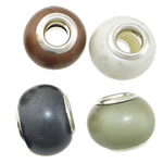 European Resin Beads, Rondelle, platinum color plated, brass double core without troll, mixed colors, 10.50x4mm, Hole:Approx 5mm, 100PCs/Lot, Sold By Lot