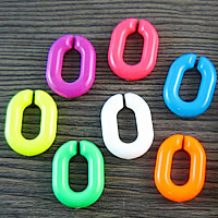 Akrylowy Pierścień łączący, Akryl, Płaski owal, mieszane kolory, 20x14mm, 1000komputery/torba, sprzedane przez torba