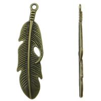 Sinkkiseos Feather riipukset, Sulka, antiikki pronssi väri päällystetty, nikkeli, lyijy ja kadmium vapaa, 49x13mm, Reikä:N. 1mm, 50PC/laukku, Myymät laukku