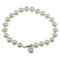 Freshwater Cultured Pearl Bracelet, Freshwater Pearl, sterling silver lobster clasp, white, Grade AAA, 6-7mm, Sold Per 6.5 Inch Strand