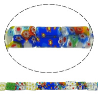 Millefiori Glass Beads, Rectangle, mixed colors, 12x10x3.50mm, Length:15 Inch, 10Strands/Lot, Sold By Lot