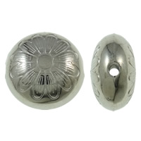 Copper Coated Plastic Beads, Flat Round, platinum color plated, with flower pattern, nickel, lead & cadmium free, 15x9mm, Hole:Approx 2mm, Approx 830PCs/KG, Sold By KG