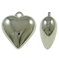 Copper Coated Plastic Pendant, Heart, platinum color plated, nickel, lead & cadmium free, 31.50x35x16mm, Hole:Approx 3.5mm, Approx 120PCs/KG, Sold By KG