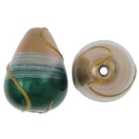 Koraliki Lampwork brushwork, Łezka, Szczotkowane, wielokolorowy, 15x20mm, otwór:około 2mm, 20komputery/wiele, sprzedane przez wiele