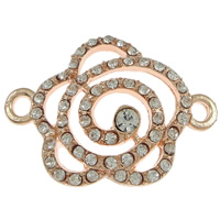 Flower Zinc Alloy Connector rose gold color plated with rhinestone   1/1 loop nickel lead   cadmium free 33x24x5mm Hole:Approx 2mm 100PCs/Lot