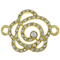 Flower Zinc Alloy Connector gold color plated with rhinestone   1/1 loop nickel lead   cadmium free 33x24x5mm Hole:Approx 2mm 100PCs/Lot