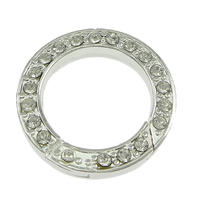 Zinc Alloy Jewelry Clasp, Donut, silver color plated, with rhinestone, nickel, lead & cadmium free, 24x4mm, Inner Diameter:Approx 17mm, 30PCs/Lot, Sold By Lot